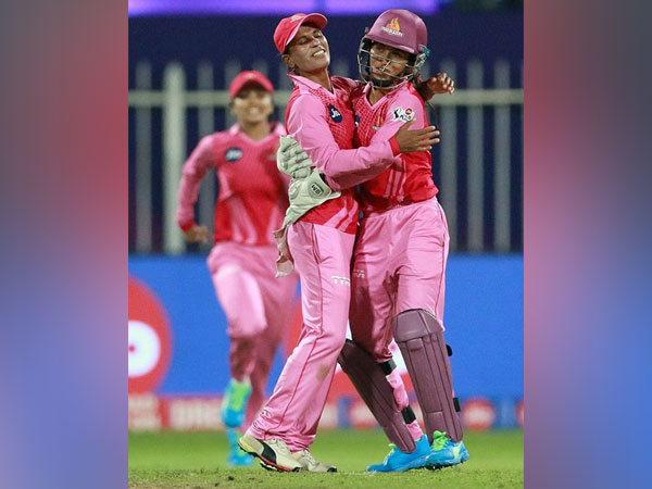 Salma Khatun of Trailblazers celebrates after takes a wicket of the Anuja Patil (Image: BCCI/IPL)