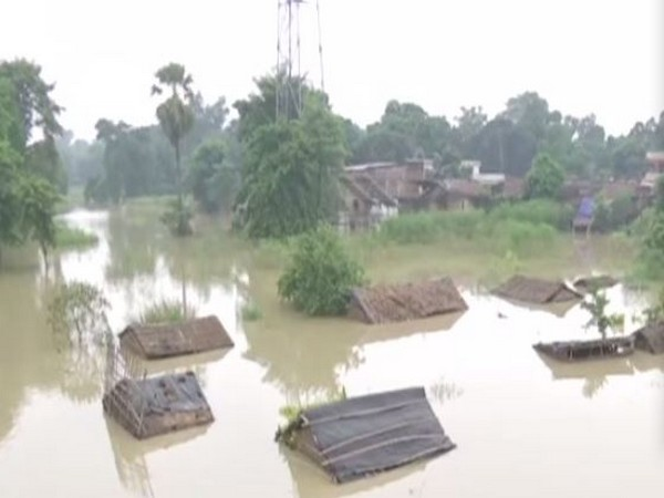 Houses submerge in flood waters in Bihar's Samastipur district. (Photo/ANI)
