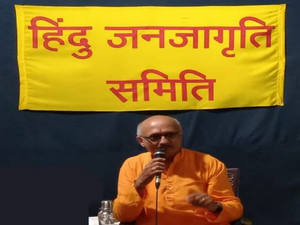 Hindu Janajagruti Samiti leader Manoj Solanki speaking at an event in Goa on Sunday.