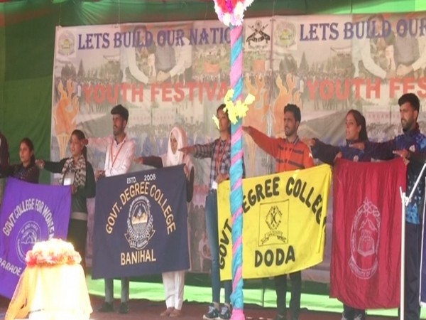 Students performing at the Sangam Youth Festival in Bhadarwah, Jammu and Kashmir on Saturday. Photo/ANI