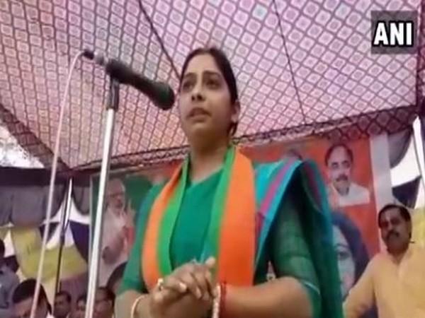 Sanghmitra Maurya, BJP candidate from Badaun Lok Sabha seat, during a public gathering on Wednesday. Photo/ANI