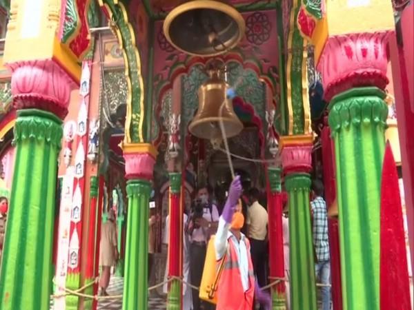 Hanuman Garhi temple is being sanitised ahead of Prime Minister Narendra Modi's visit on August 5. (Photo/ANI)