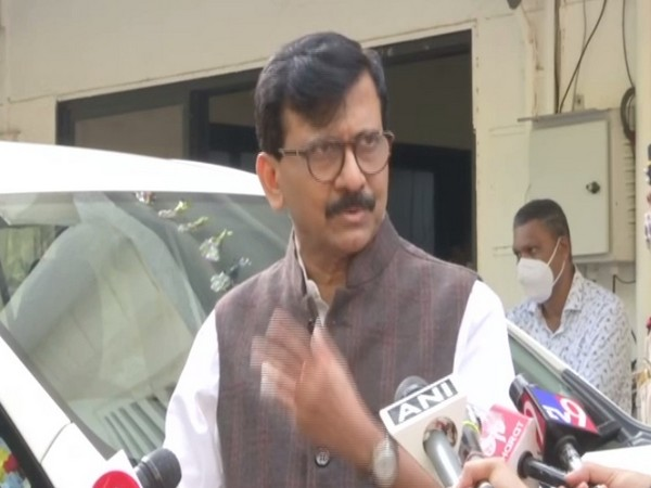 Shiv Sena leader Sanjay Raut speaking to reporters on Tuesday.