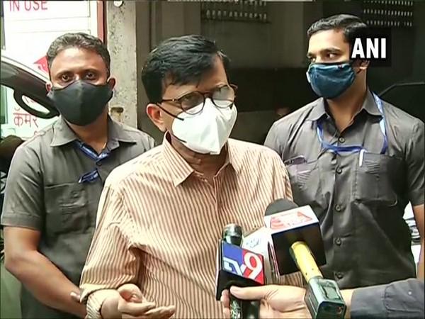 Shiv Sena MP Sanjay Raut speaking to media on Saturday.