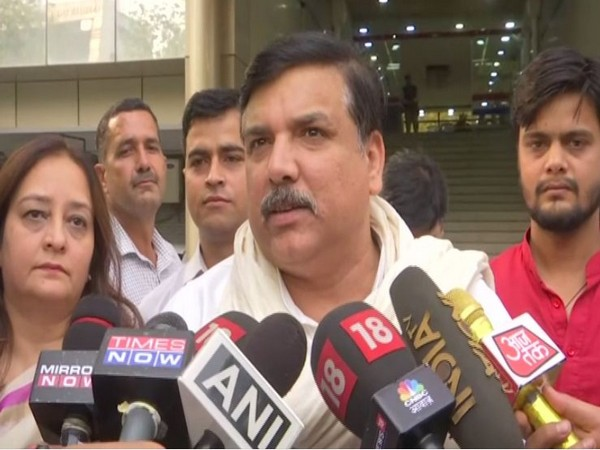 AAP MP Sanjay Singh speaking to media