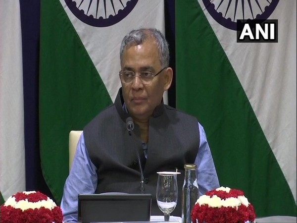 A Gitesh Sarma, MEA official briefing media in New Delhi on Wednesday