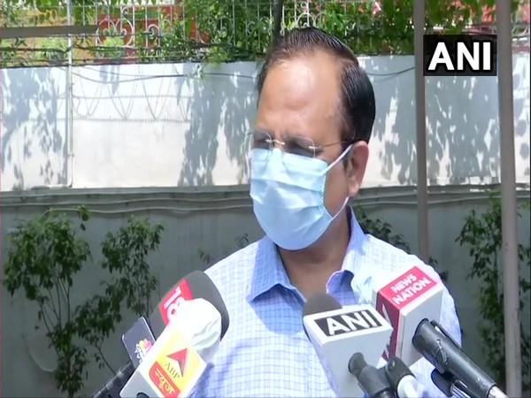 Health Minister Satyendar Jain speaking to reporters in New Delhi on Tuesday.