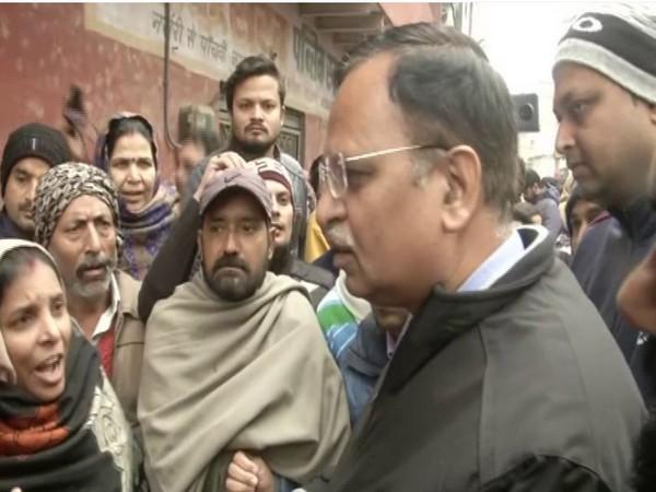 Delhi Health Minister Satyendra Jain at capital's Kirari area on Monday [Photo/ANI]