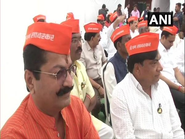 Bharatiya Janata Party MLAs wore 'I am Savarkar' caps in Nagpur on Monday