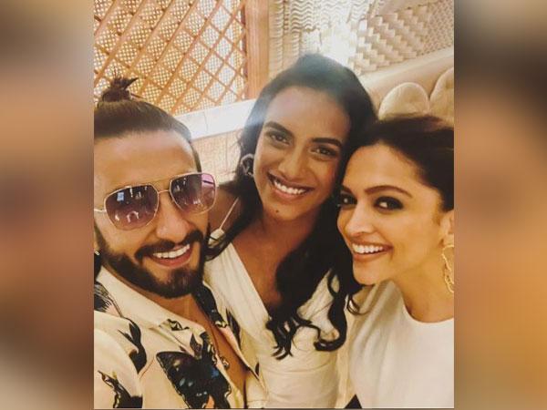 Ranveer Singh, PV Sindhu, Deepika Padukone (L to R) (Image source: Instagram)