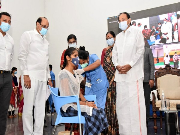 Vice President, M Venkaiah Naidu launched free Covid vaccination drive at Swarna Bharat Trust, Hyderabad today (Photo/ANI)