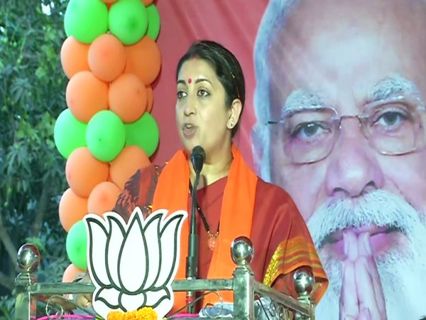 Union Minister Smriti Irani in Shikarpur on Wednesday.