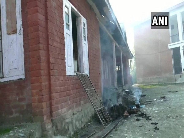 Visual of the high school which was set ablaze by terrorists on Tuesday. (Photo/ANI)