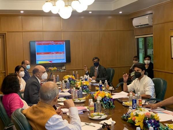 Minister of Civil Aviation Jyotiraditya Scindia at Air India headquarters (Photo ANI)