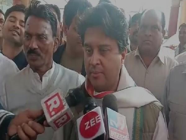 Congress leader Jyotiraditya Scindia speaking to reporters in Bhopal on Monday.