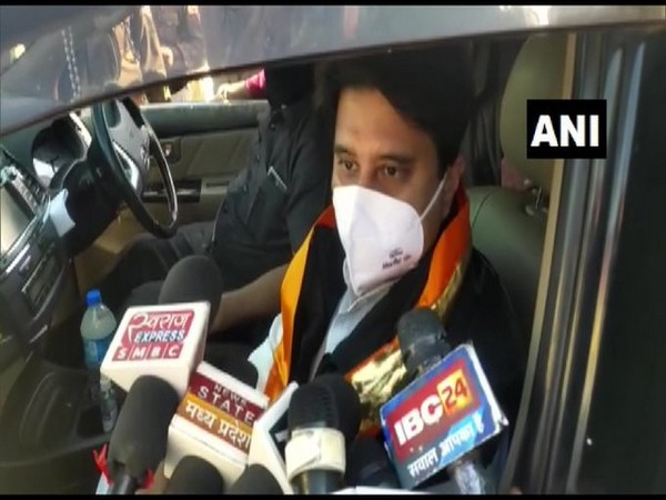 BJP leader Jyotiraditya Scindia speaking to reporters on Monday. [Photo/ANI]