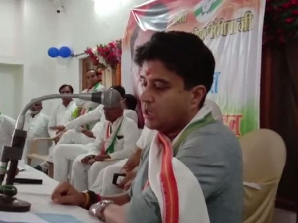 Congress leader Jyotiraditya Scindia speaking at an event in Bhind on Thursday