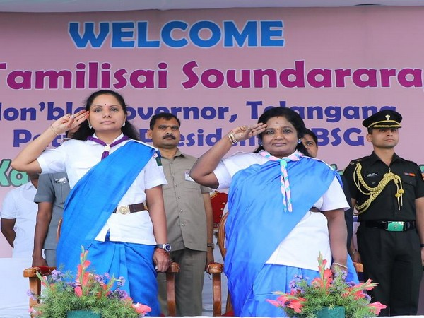 Telangana Chief Minister K Chandrasekhar Rao, Kalvakuntla Kavitha, attended Bharat Scouts and Guides foundation day at the BSG school on Thursday. (Photo/ANI)