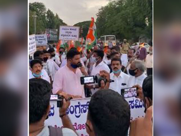 Karnataka Youth Congress protesting in Mangalore (Photo/ANI)