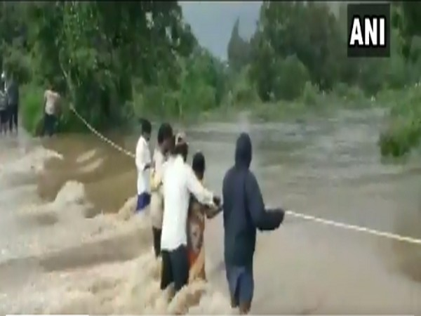 Visuals from Sunnampadu village of Krishna district where heavy rain created flood like situation (Photo/ANI)