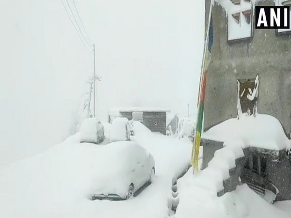 ubling village of Lahaul-Spiti district  covered in a blanket of snow. (Photo/ANI)
