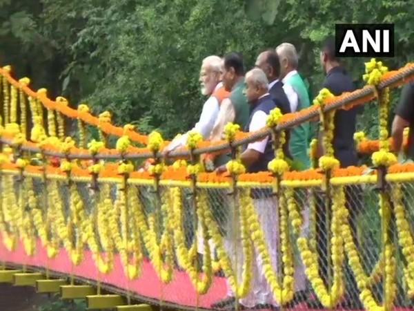 Prime Minister Narendra Modi visits Sardar Sarovar Dam in Kevadiya. (Photo/ANI)