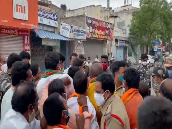 Visual of protest in Kadapa district (Photo/ANI)