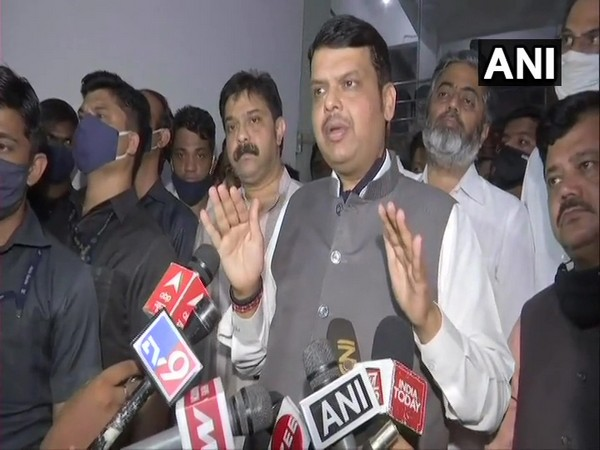 Maharashtra Leader of Opposition Devendra Fadnavis interacting with reporters on Saturday.