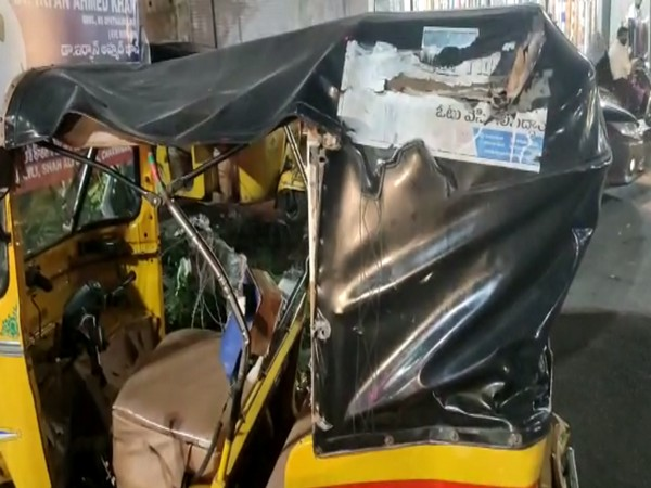 Visual of the mangled autorickshaw that was run over by a car (Photo/ANI)