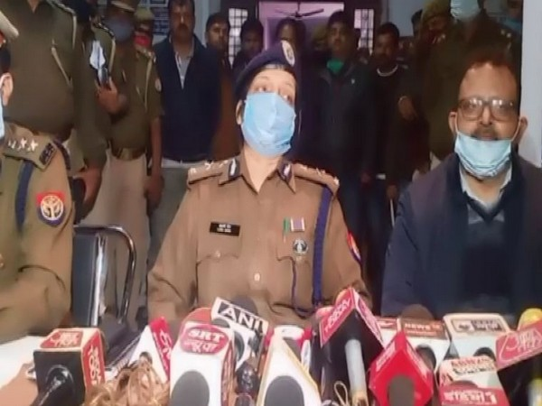 Laxmi Singh, Inspector-General, Lucknow range, interacting with reporters about the Unnao girls' death case on Friday.
