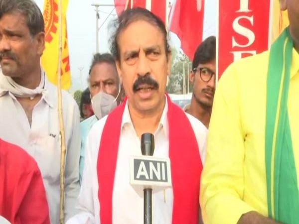 K Ramakrishna, CPI, state secreatry, speaking to ANI during Bharat Bandh protest on Friday.