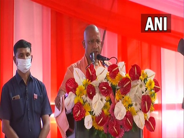 UP CM Yogi Adityanath addressing the Kisan Sammelan in Lucknow on Sunday. (Photo/ANI)