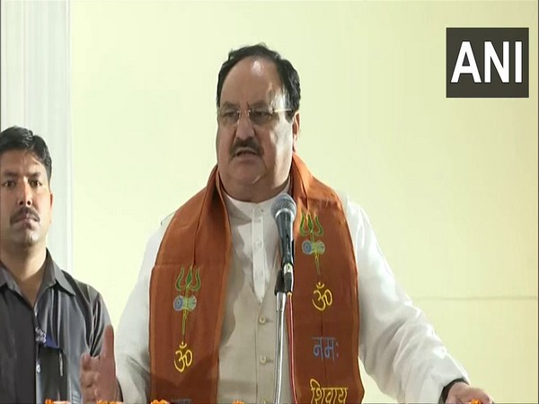 BJP Chief JP Nadda speaking at a event in Varanasi. (Photo/ANI)