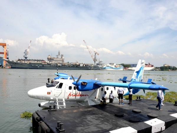 A visual of the seaplane at the Venduruthy channel at Kochi on Sunday.