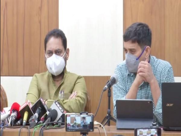 Maharashtra Energy Minister Nitin Raut (left) during press congerence on Friday (Photo/ANI)