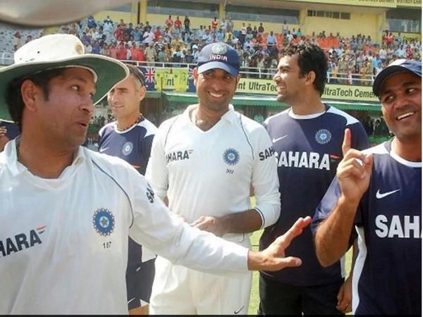 Sachin Tendulkar with VVS Laxman, Zaheer Khan and Virender Sehwag (Image: Virender Sehwag's Twitter)