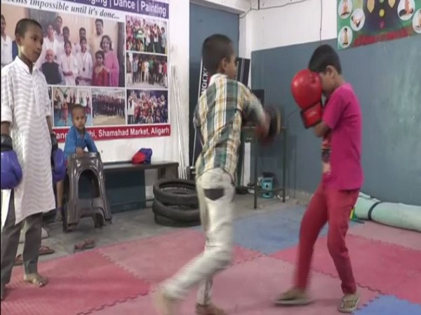 Children practising self-defence in a Madarasa in Aligarh on Monday. Photo/ANI