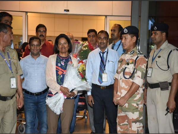 Aparna Kumar, DIG Northern Frontier ITBP, welcomed by ITBP officials in New Delhi on Thursday. Photo/ANI