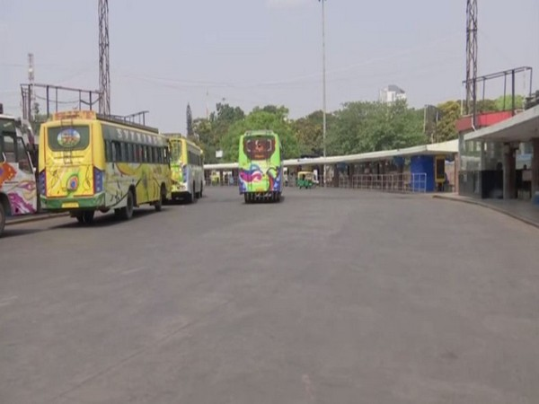 A deserted bus terminal in Bengaluru. [Photo/ANI]