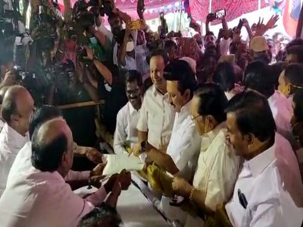 Visual of MK Stalin submitting a formal letter to the party's election committee.