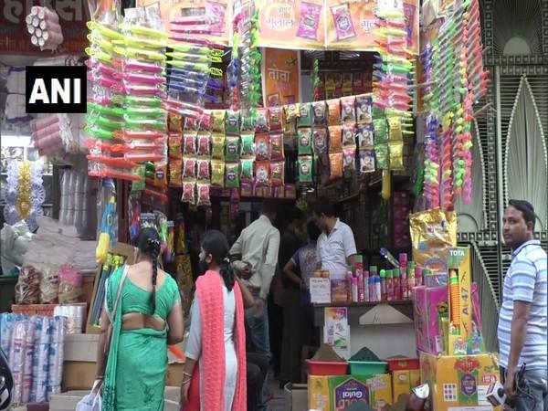 Shops selling Holi merchandise in Hapur. (Photo/ANI)