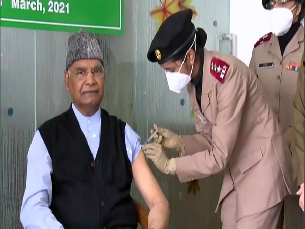 President Ram Nath Kovind being administered his first COVID-19 vaccine jab on Wednesday.
