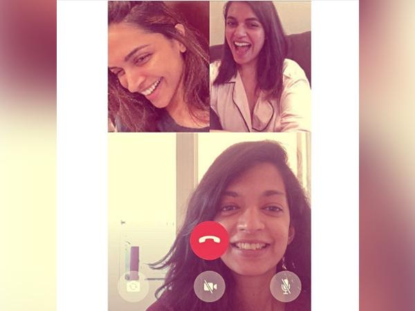 Actor Deepika Padukone talking to her best friends over group video call (Image Source: Instagram)