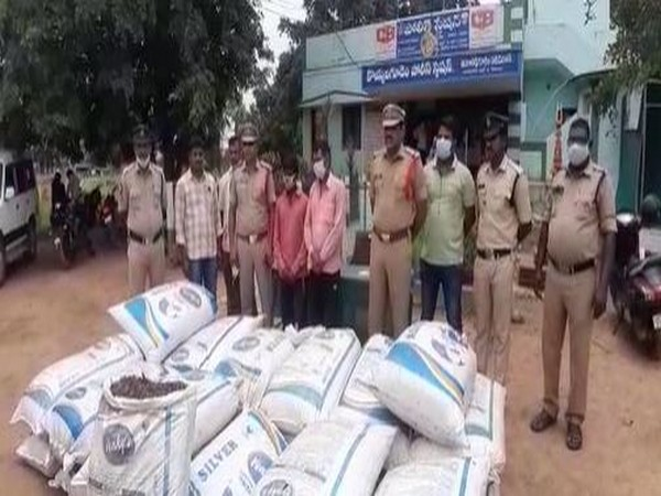 Visual of seized contraband along with arrested persons and police personnel (Photo/ANI)