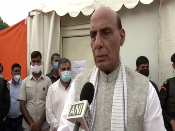 Defence Minister Rajnath Singh speaking to ANI at Narora, UP. (Photo/ANI)