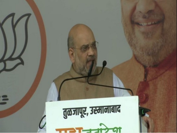 Union Home Minister Amit Shah speaking at the rally in Osmanabad, Maharashtra on Thursday. Photo/ANI
