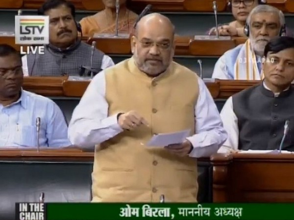 Union Home Minister Amit Shah speaking in the Lok Sabha on Monday. (Photo credit: Lok Sabha TV)