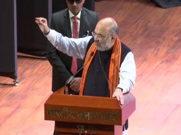 Amit Shah speaking at Karyakarta Sammelan in Raipur on Tuesday.