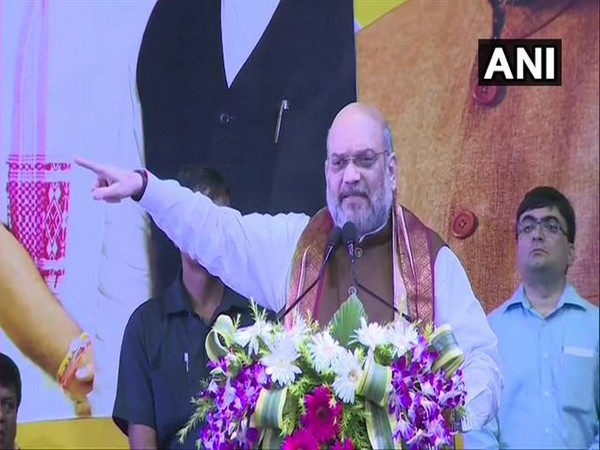 Union Home Minister Amit Shah addressing a gathering in Kolkata on Tuesday. Photo/ANI