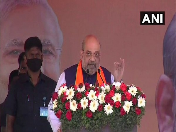 Union Home Minister Amit Shah speaking at a rally in Puducherry. (Photo/ANI)